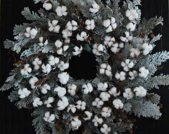 "Winter Farmhouse Cotton and Cedar Wreath - Extra Large 30"" Diameter"