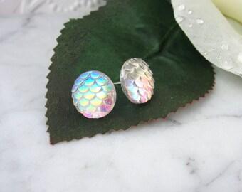 Mermaid Studs - Mermaid Earrings - Dragon Studs - Iridescent Earrings - Stud Earrings - Button Earrings - Mermaid Tail - Dragon Scales