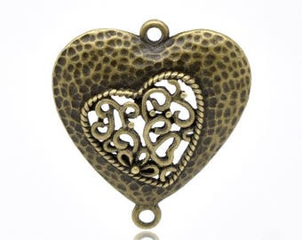 Engraved heart pendant charm bronze 34X30mm