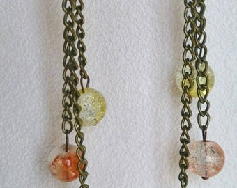 Bronze earrings and chains with beads