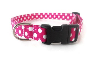 Pink polkadot dog collar, hot pink polka dot cat collar, pink and white pet collar, polka dot collar