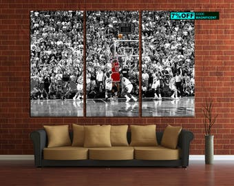 Michael Jordan Last Shot 1998 NBA Basketball Multi Panel Unframed Canvas  Print Gallery Wrap Giclée Art
