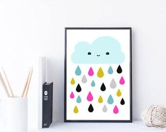 nuage d'art crèche imprimable impression - art mural de dortoir - chambre - enfants chambre mur art - impression kawaii - imprimable enfants cadeau - A4 - 8 x 10