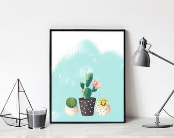Cute Cactus Art Printable, Cactus digital download, modern cacti printable art, modern cactus wall art, catus art downloadable art