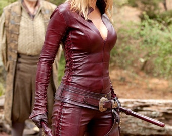 Cara MordSith Costume, Made To Order, Leather Armor, Leather Catsuit, Larp Armor, Larp Costume, Red Leather, Legend of the Seeker