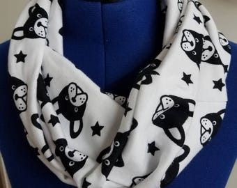 Boston - terrier - pup - puppy - dog - soft - cotton - knit - fabric  - infinity  - scarf