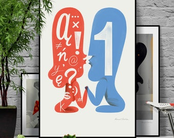 Let's talk. Man vs Woman. Face to face. Original illustration art poster giclée print signed by Paweł Jońca.