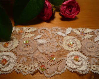 Lace ivory stretch sequins 5.50 cm wide