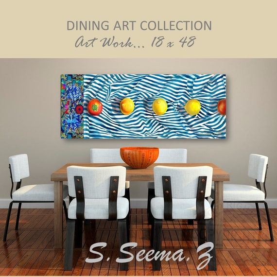 LEMON BLUES - 48x18,Yellow, Dining Art, Home Wall Decor, Paper Art Print, Tomato, Lemon, Abstract, S Seema Z
