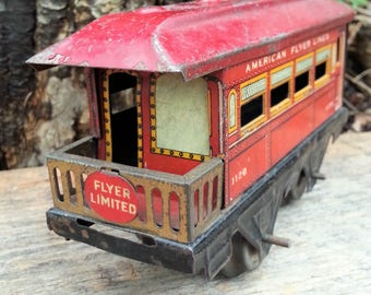 1920's American Flyer Observation Car No. 1120 - Antique Flyer Trains Circa 1923 to 1929