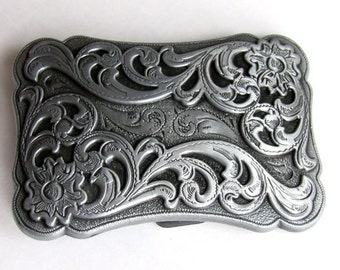 """Vintage Old West Scroll Design Western Belt Buckle For 1 1/2"""" Width Belt 3"""" By 2"""""""