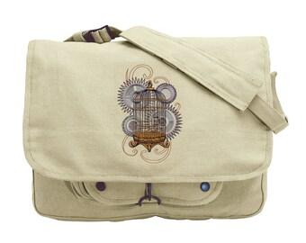 Steam Motifs - Birdcage Embroidered Canvas Messenger Bag