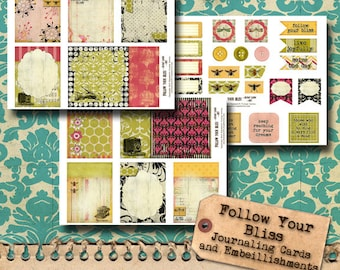 Follow Your Bliss - Journaling Cards and Embellishments