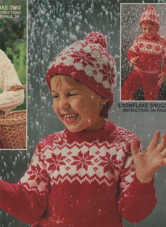 Childrens Snowflake Fair Isle Sweater And Hat Pdf Knitting