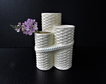 Vintage Chinoiserie Triple Basket Weave Ceramic Vase -  White Basket Weave Design - Made in Japan - Wicker Basket Design - Japan