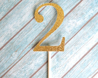 Second Birthday Cupcake Toppers, 2nd Birthday Cupcake Toppers, Gold 2 Cupcake Toppers, Second Birthday Cupcakes