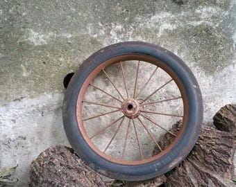 Vintage Salvage Rusty Wagon Wheel Rubber Tire