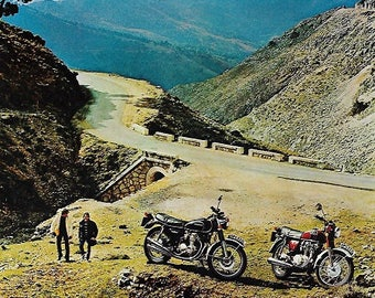 Honda Motorcycle Print 1973, Advertising Wall Art