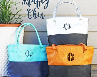 Two Toned Moni Monogram Tote