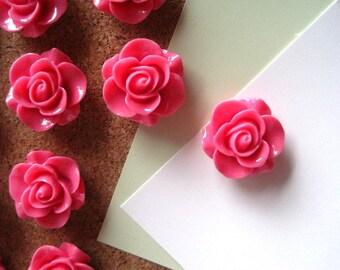 Pink Push Pins, Rose Thumbtacks, Flower Tacks, Pink Rose Tacks, Cottage Chic Tacks,  Housewarming Gifts, Hostess Gifts, Wedding Favors