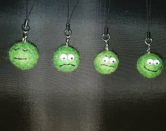 Fun felt charms - Hap-pea, Unhap-pea, Grum-pea and Sleep-pea, mobile charms