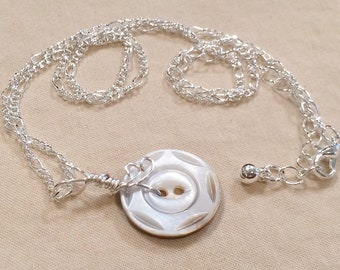 Silver Hand Wired Vintage Carved Smoky Mother of Pearl Button Necklace