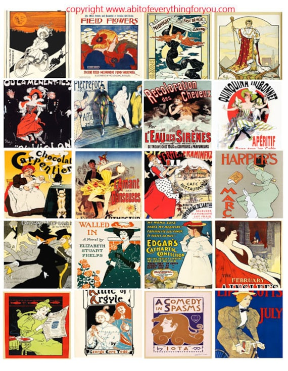 vintage art deco advertisements clip art instant digital download collage sheet 2 inch squares graphics images craft printables
