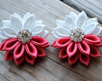 White/Pink Kanzashi Flower Clips