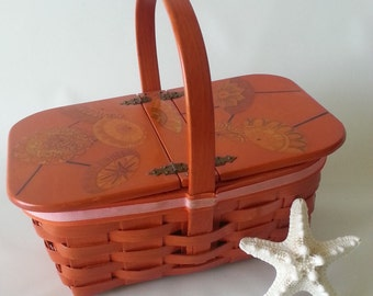 Vintage 1970's Decoupage Basket Handbag, Vintage Painted Basket Handbag Purse, Lidded Basket Handbag