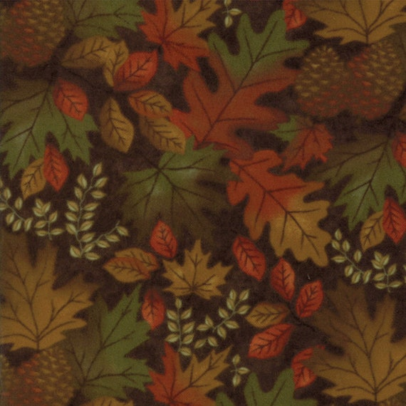 Burnt Orange Leaves and Pinecones on Dark Brown In Flannel From Holly Taylor Fall Impressions Moda Fabric By The Yard 6701 14F