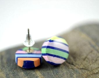 Colorful Striped High Gloss Stud Earrings
