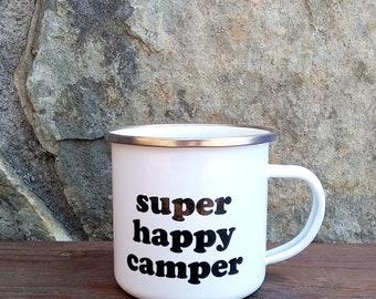 Enamel Camp Mug | Super Happy Camper | Camping | Campfire | Tin Mug | Wanderlust | RV Accessories | Glamping | Cabin | RV Decor | Bus | Van