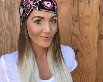University of Alabama Turban Headband || Bama Football Crimson Tide Hair Accessory Cotton Workout Yoga Fashion Red Black White Scarf Girl