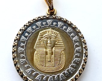 Unique Egyptian Pendant, King Tut Gold Mask Coin Pendant Tutankhamun Pharaoh Egypt Jewelry Necklace Royal Unique Charm Finding Boho Jewelry