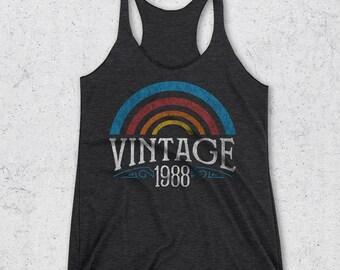 30th Birthday Gift for her -  Vintage 1988 Tank Top - 30th Birthday Gifts for Women - Retro Rainbow Shirt - 1988 Shirts -30th Birthday Shirt