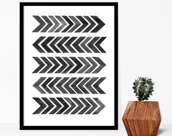 "Chevron Print, Home Decor, Wall Art, Modern Art Print, Arrows, Chevron, Art Print, Geometric Print, Minimalist Print, Abstract Art, 9"" x 12"""