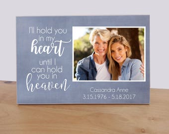 Personalized Memorial Photo Plaque, Custom Photo Gift, Funeral Decoration, Sympathy Gift Idea {I'll Hold You In My Heart} Bereavement Gift