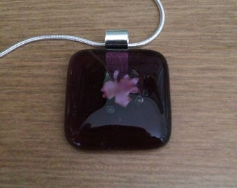 Fused glass copper maple leaf pendant necklace