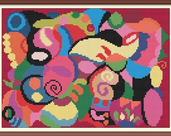 Abstract Artwork 2 Cross Stitch Pattern PDF Chart Instant Download Modern Colorful Cross Stitch Pattern