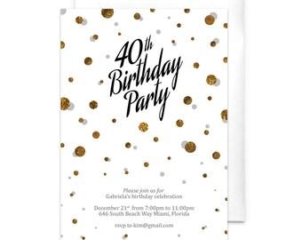 40th Birthday Invitation Adult Birthday Party 30th Birthday 50th Birthday 60th Birthday 70th Birthday Gold Confetti Birthday Party
