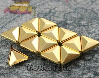 400Pcs 12mm Gold Triangle Studs Metal Studs (JT12)