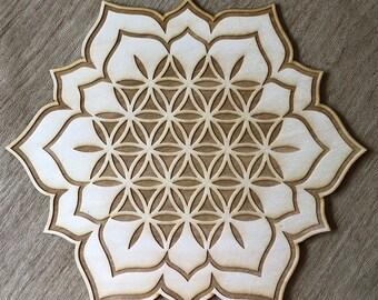 Flower of Life Lotus Crystal Grid - Lotus Crystal Grid - 3, 6, 9, or 12 Inches - Wooden Crystal Grid - Sacred Geometry - Wood Crystal Grid