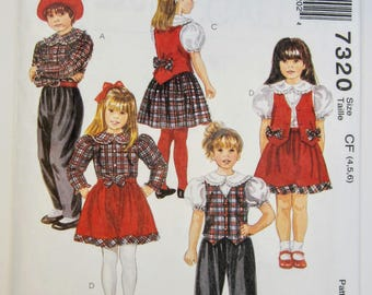 McCall's 7320 Sewing Pattern Girl's Blouse Lined Vest Pants & Skirt Sizes 4 - 6 Uncut
