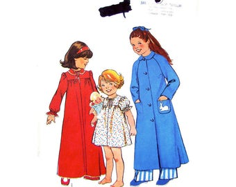 Girls Vintage Nightgown & Housecoat Pattern Style 1715 Long or Short Nightie and Robe Girls Sewing Pattern Size 4 UNCUT