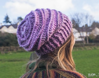 pink tones ribbed slouch beanie