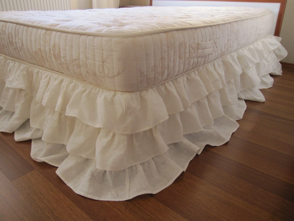 queen king linen 3 tier ruffle bed skirt dust ruffle shabby. Black Bedroom Furniture Sets. Home Design Ideas