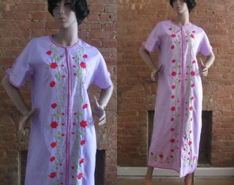 1970s floral embroidered lilac dress | 70's boho market maxi dress