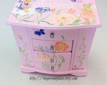 musical jewelry box,large hanging jewelry box,fairies,flowers,butterflies,personalized,fairy jewelry box,pink jewelry box,girl jewelry box
