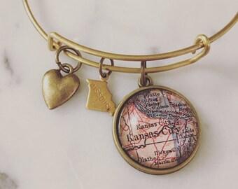Kansas City Map Charm Bangle Bracelet - Personalized Map Jewelry - Bangle - Missouri - KC - Hometown - Wanderlust