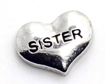 Sister Heart Floating Charm for Glass Memory Locket FC28 - 1 Charm